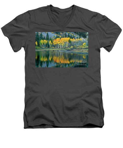Aspens In Fall Color Along Lundy Lake Eastern Sierras California Men's V-Neck T-Shirt by Dave Welling