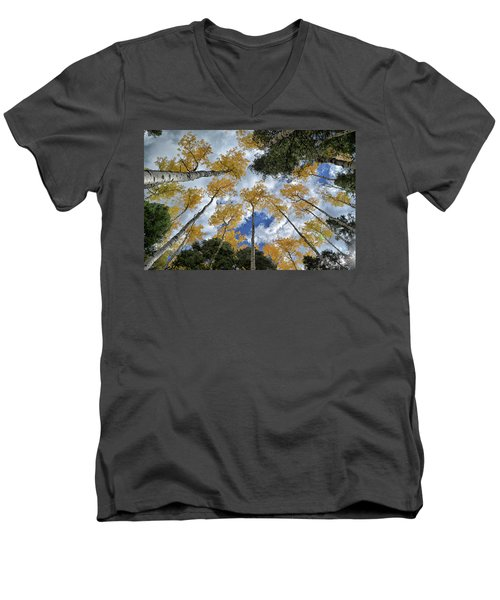Men's V-Neck T-Shirt featuring the photograph Aspens Reaching by Kevin Munro
