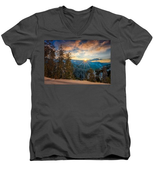 Aspens Sunset After Snowfall Men's V-Neck T-Shirt