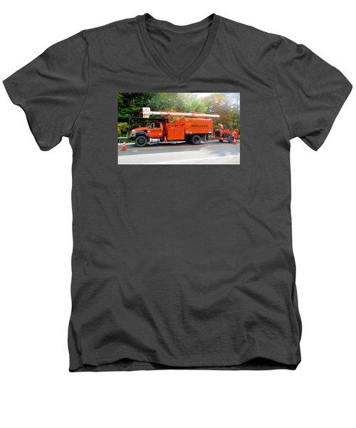 Asplundh Tree Expert Company Trucks Men's V-Neck T-Shirt
