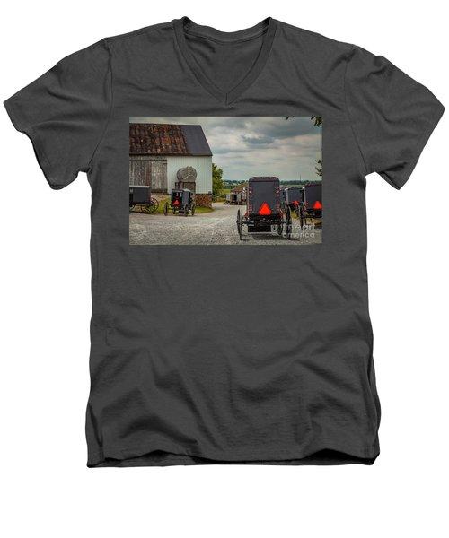 Assorted Amish Buggies At Barn Men's V-Neck T-Shirt