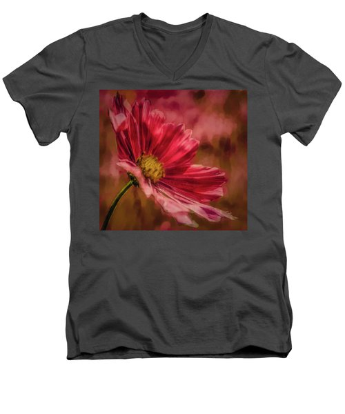 Aster Red Painterly #h1 Men's V-Neck T-Shirt