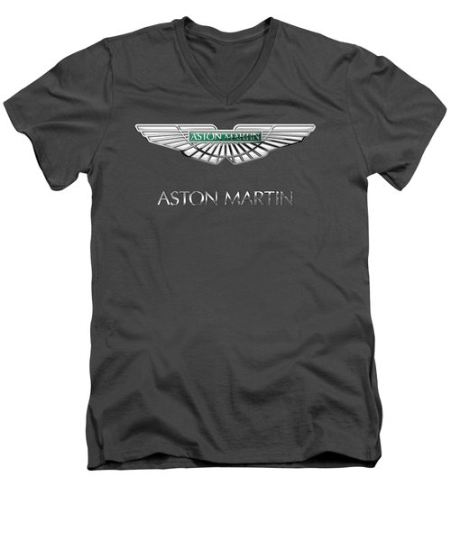 Aston Martin - 3 D Badge On Red Men's V-Neck T-Shirt by Serge Averbukh