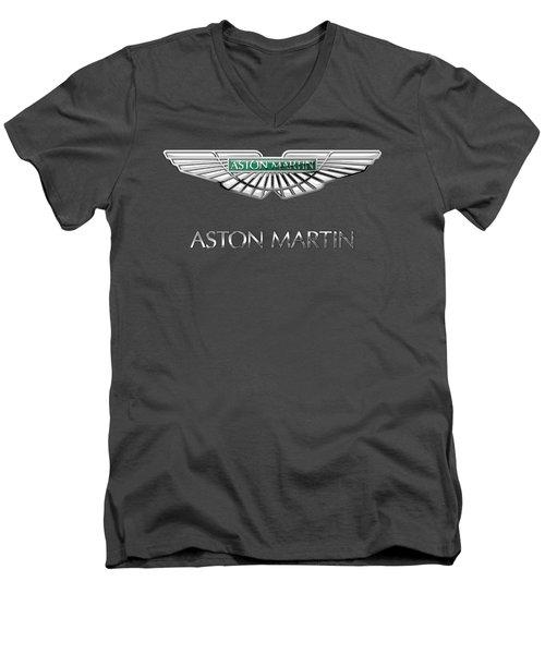 Aston Martin - 3 D Badge On Red Men's V-Neck T-Shirt by Serge Averbukh