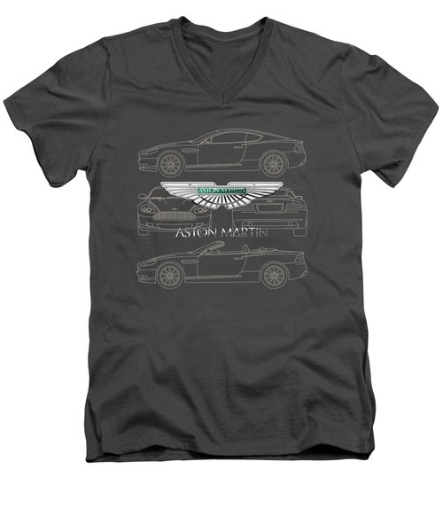 Aston Martin 3 D Badge Over Aston Martin D B 9 Blueprint Men's V-Neck T-Shirt by Serge Averbukh
