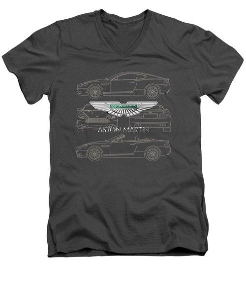 Aston Martin 3 D Badge Over Aston Martin D B 9 Blueprint Men's V-Neck T-Shirt