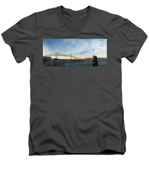 Astoria Megler Bridge By Riverwalk Panorama Men's V-Neck T-Shirt