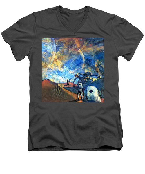 Astronauts On A Red Planet Men's V-Neck T-Shirt