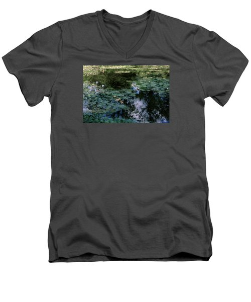Men's V-Neck T-Shirt featuring the photograph At Claude Monet's Water Garden 10 by Dubi Roman