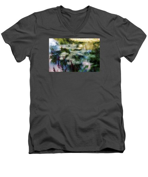 Men's V-Neck T-Shirt featuring the photograph At Claude Monet's Water Garden 2 by Dubi Roman