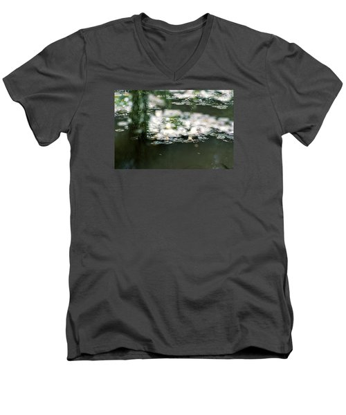 Men's V-Neck T-Shirt featuring the photograph At Claude Monet's Water Garden 5 by Dubi Roman