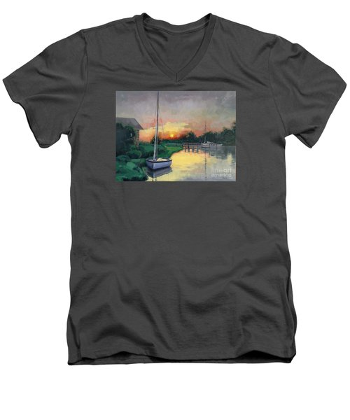 Men's V-Neck T-Shirt featuring the painting At Ease Sold by Nancy Parsons