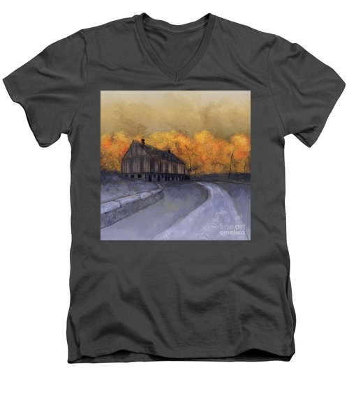 Men's V-Neck T-Shirt featuring the digital art At Just Dawn by Lois Bryan