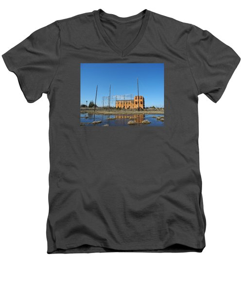 Men's V-Neck T-Shirt featuring the photograph At N T Long Lines Historic Site by Sami Martin