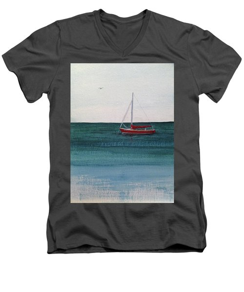 Men's V-Neck T-Shirt featuring the painting At Rest by Wendy Shoults