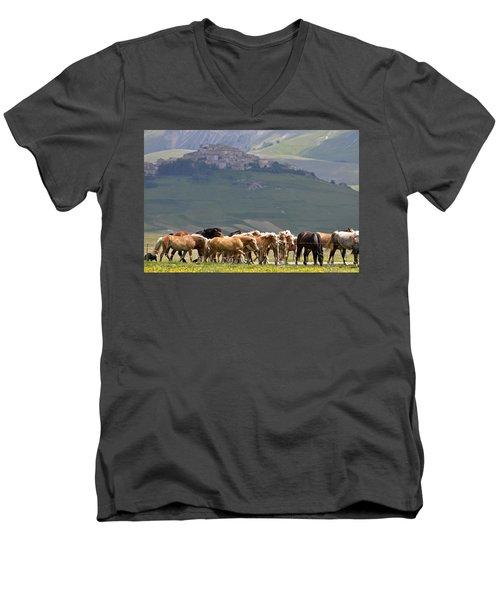 Men's V-Neck T-Shirt featuring the photograph Castelluccio Di Norcia, Parko Nazionale Dei Monti Sibillini, Italy by Dubi Roman
