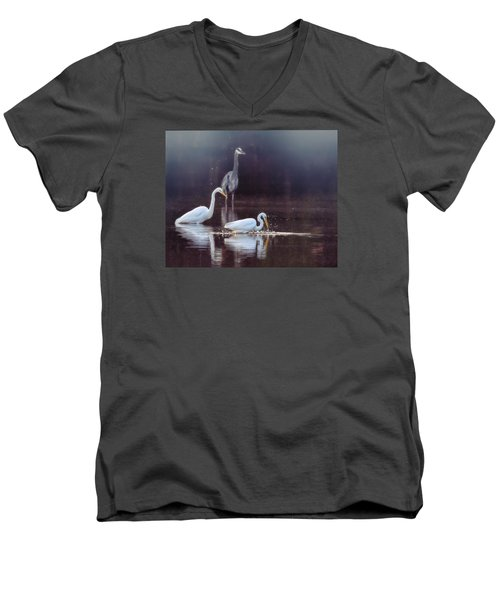 Men's V-Neck T-Shirt featuring the photograph At The Fishing Pond by Susi Stroud