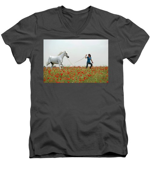 Men's V-Neck T-Shirt featuring the photograph At The Poppies' Field... 2 by Dubi Roman