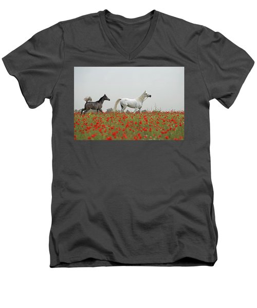 At The Poppies' Field... Men's V-Neck T-Shirt by Dubi Roman