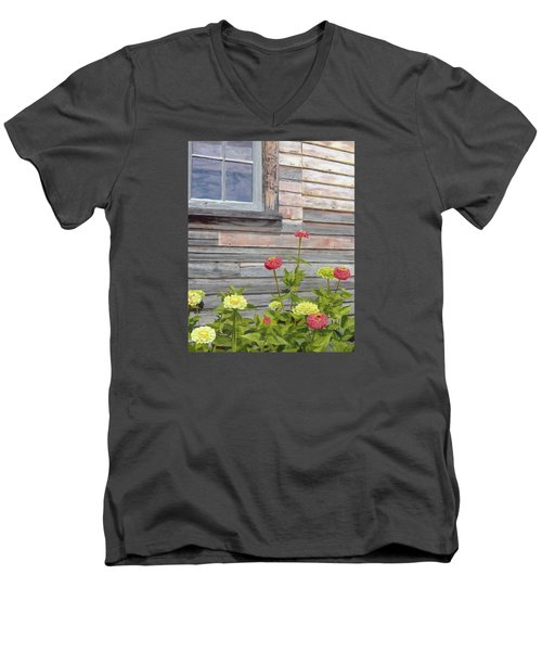 Men's V-Neck T-Shirt featuring the painting At The Shelburne by Lynne Reichhart