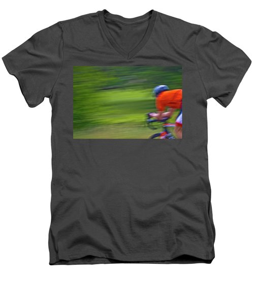 Men's V-Neck T-Shirt featuring the photograph At The Speed Of Light by Linda Unger