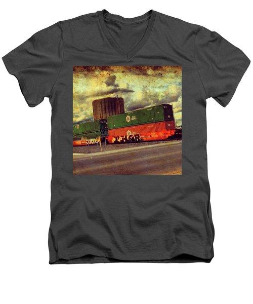 At The Train Crossing. Arizona  Men's V-Neck T-Shirt