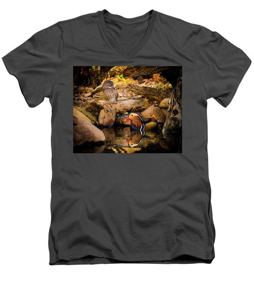 At The Waters Edge - Mandarin Ducks Men's V-Neck T-Shirt
