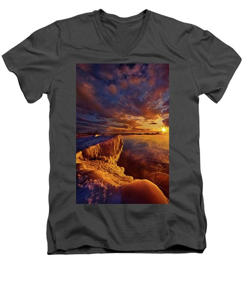 Men's V-Neck T-Shirt featuring the photograph At World's End by Phil Koch