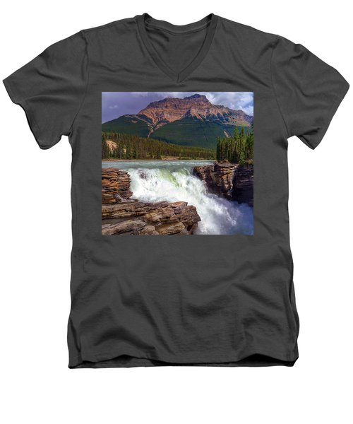 Athabasca Falls Men's V-Neck T-Shirt by Heather Vopni
