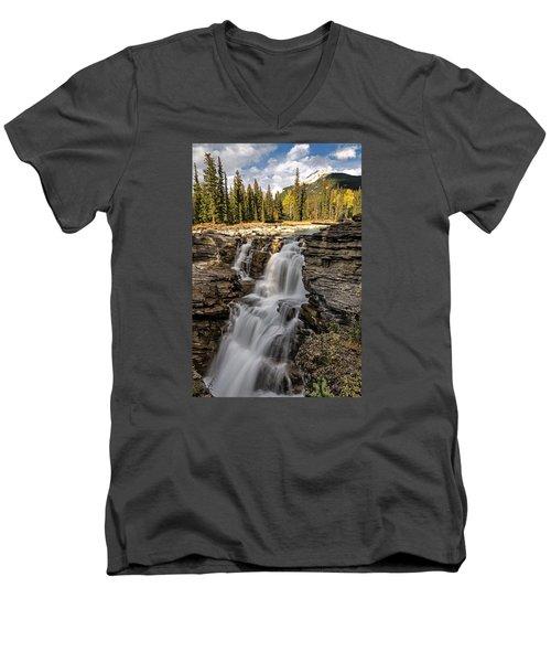 Athabasca Falls Men's V-Neck T-Shirt by John Gilbert