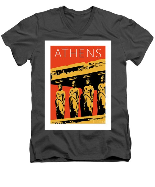 Athens Erechtheum Orange Men's V-Neck T-Shirt
