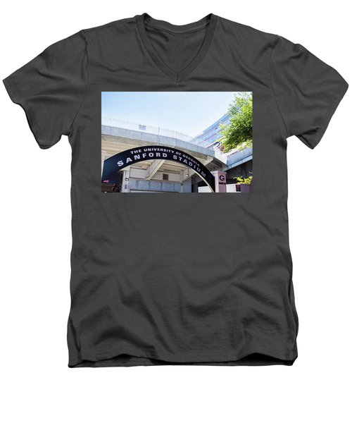 Men's V-Neck T-Shirt featuring the photograph Athen's Ritual by Parker Cunningham