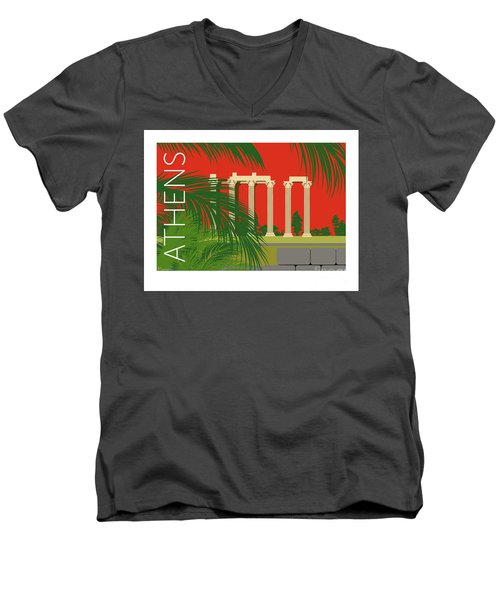 Athens Temple Of Olympian Zeus - Orange Men's V-Neck T-Shirt