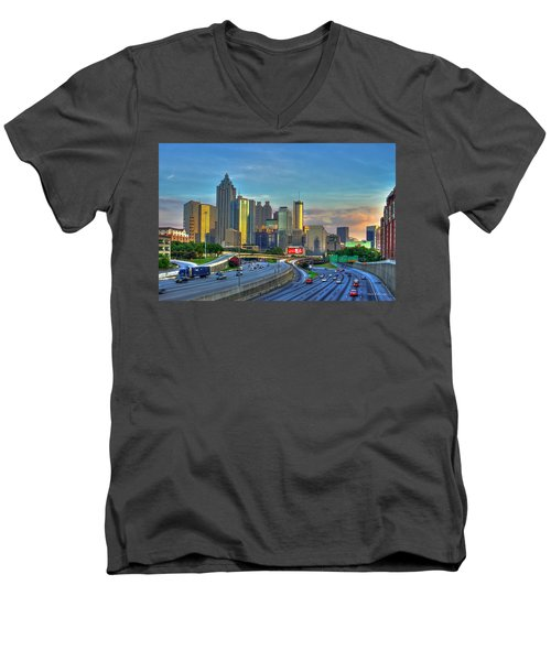 Atlanta Coca-cola Sunset Reflections Art Men's V-Neck T-Shirt