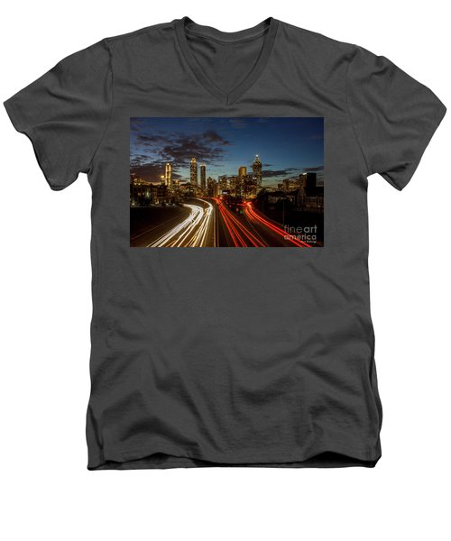 Men's V-Neck T-Shirt featuring the photograph Atlanta Downtown Infusion Atlanta Sunset Cityscapes Art by Reid Callaway