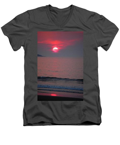 Men's V-Neck T-Shirt featuring the photograph Atlantic Sunrise by Sumoflam Photography