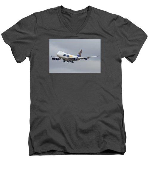 Atlas Air Boeing 747-47uf N415mc Phoenix Sky Harbor December 23 2015  Men's V-Neck T-Shirt by Brian Lockett