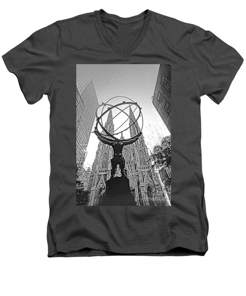 Atlas Rockefeller Center Nyc Men's V-Neck T-Shirt