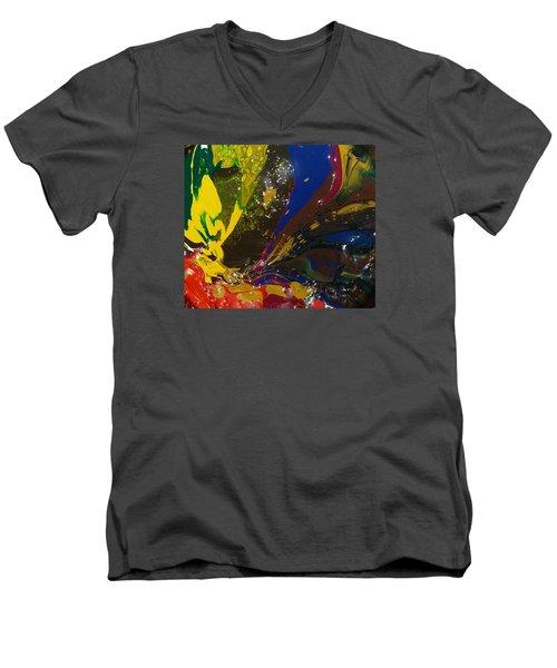 Atom, Surfing On Dog Men's V-Neck T-Shirt by Gyula Julian Lovas
