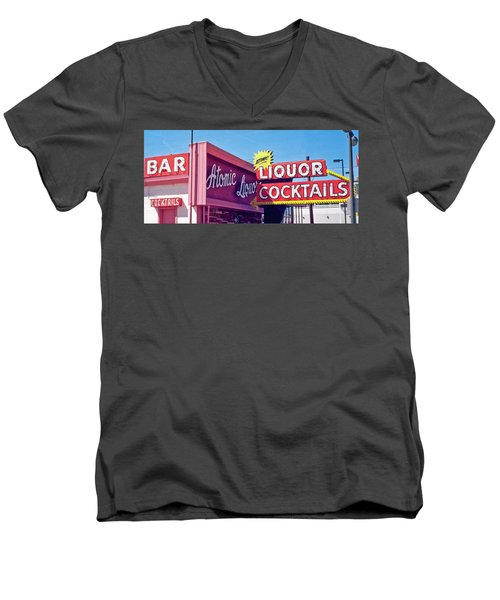 Men's V-Neck T-Shirt featuring the photograph Atomic Liquors by Matthew Bamberg
