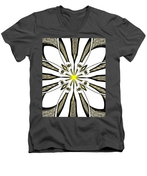 Atomic Lotus No. 3 Men's V-Neck T-Shirt by Bob Wall