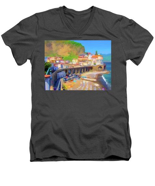 Atrani Italy 01 Men's V-Neck T-Shirt by Wally Hampton