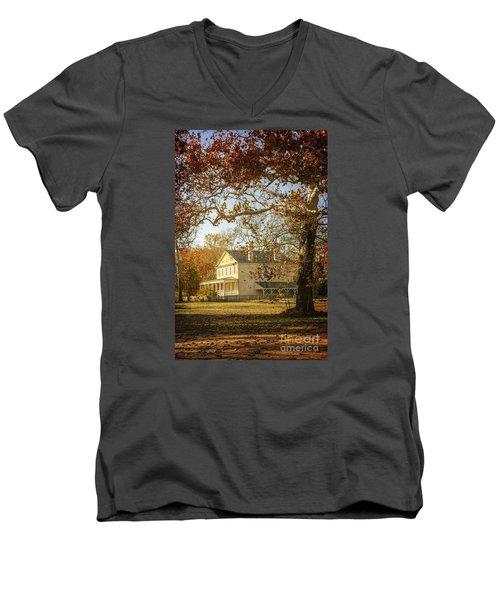 Atsion Mansion Men's V-Neck T-Shirt by Debra Fedchin