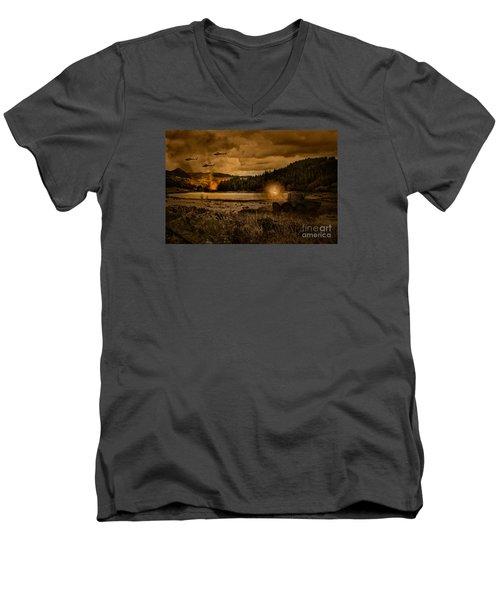 Attack At Nightfall Men's V-Neck T-Shirt by Amanda Elwell