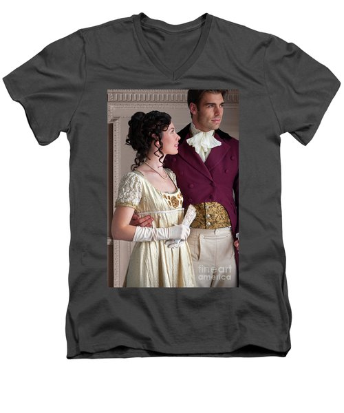 Attractive Regency Couple Men's V-Neck T-Shirt by Lee Avison