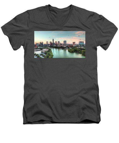 Atx Bats Men's V-Neck T-Shirt by Andrew Nourse