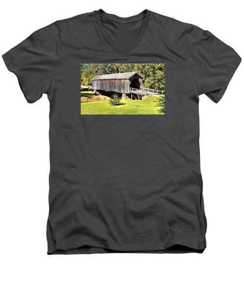 Auchumpkee Creek Covered Bridge Men's V-Neck T-Shirt by James Potts