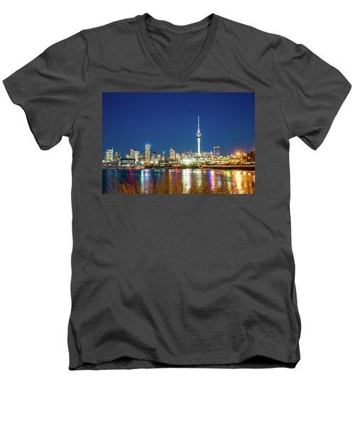 Auckland At Dusk Men's V-Neck T-Shirt