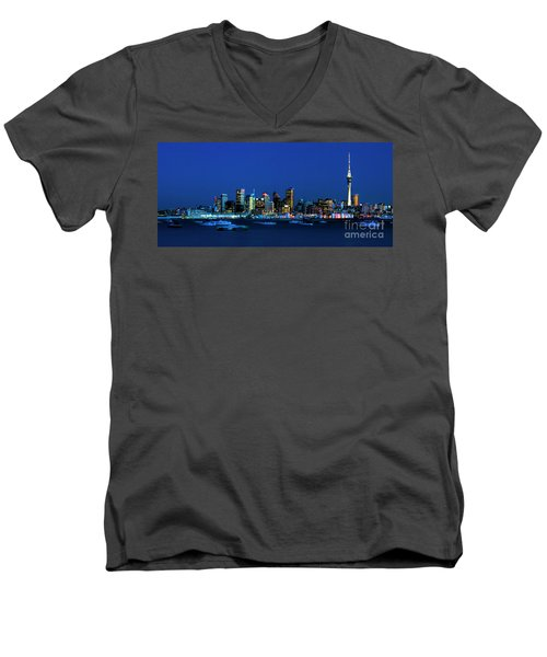 Auckland City Night Lights Men's V-Neck T-Shirt by Karen Lewis