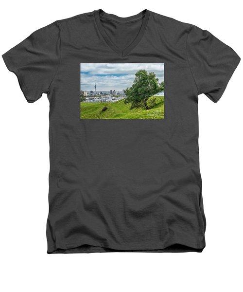 Auckland Skyline Men's V-Neck T-Shirt by Martin Capek